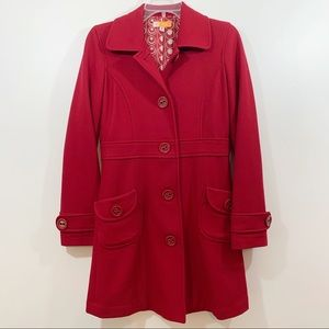 Tulle Anthropologie Red Pea Coat